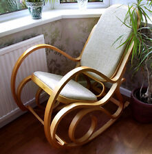 New Padded Seat Bentwood Birch Maternity Rocking Chair Thonet - Bedroom, Nursery