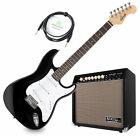 Profi E-Gitarre in ST-Bauweise schwarz im Set mit Combo-Verstärker und Kabel for sale
