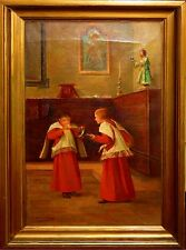 D1-018. ALTAR SERVERS. OIL ON CANVAS. SIGNED ALCÁZAR TEJEDOR. SPAIN. END XIX.