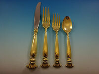 Romance of the Sea Gold by Wallace Sterling Silver Flatware Service 12 Set 48 Pc