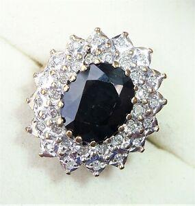 Large 9ct Gold 3.00ct Sapphire & Diamond Halo Ring, Size J, Diana Style
