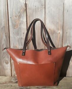 HANDCRAFTED PORTLAND LEATHER GOODS CLASSIC ZIPPERED TOTE SHOULDER BAG LARGE