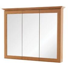Framed Bathroom Medicine Cabinet Surface Mount Tri View Oak Mirror Shelf Storage