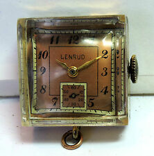 Fob Watch Needs Repair #Z407 Antique Vintage Lenrud Square Deco Necklace