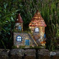 Elf House Solar Powered Garden Ornament Outdoor Patio LED Light Fairy Pixie Lamp