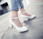 Hot Women's Round Toe Mary Jane Buckle Kitten Block High Heels Court Shoes Size