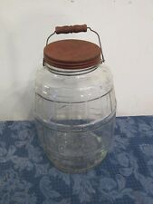 "Antique Large Glass Pickle Jar Red Lid Bail Handle Wood Grip 13.5"""