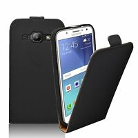 Ultra Slim BLACK Leather Flip Case Cover for Samsung Galaxy J5 2015 (+2 FILMS)
