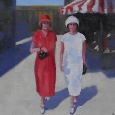 "At The Fair :  Nostalgic Original Oil Painting  Wendy Warwick 8"" X 8"""