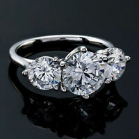 Three Stone 1.32 Carat SI1/D Round Cut Diamond Engagement Ring White Gold 14k