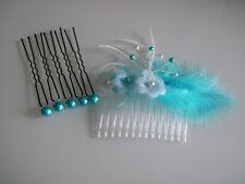 Accessoires de cheveux peigne robe de Mariée/Mariage/Soirée Bleu urquoise/Blanc