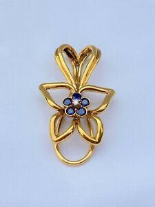 MAGNIFICENT AUSTRIAN 1960'S 18K GOLD DIAMOND SAPPHIRE MONEY CLIP SIGNED