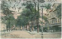 "DT.REICH BAD NAUHEIM, 1909 handkolorierte selt. AK ""Ludwigs-Straße"", rs. K2"