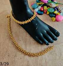 Gold Plated Indian Payal Bollywood Style Payal Chain Anklet Bridal Wedding Set