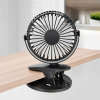 Portable Clip Fan USB Desktop Fan 3 Speeds Rechargeable Battery / USB Powered