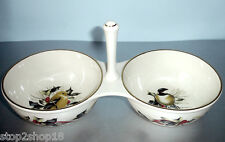Lenox Winter Greetings Condiment Server 2 Section w/Center Handle Bird Motif New
