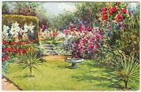A FLORAL GARDEN - J Salmon Art postcard #4247 - c1940s era