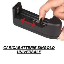 Caricabatterie Universale Singolo per Batterie 18350 18650 14500 18500 16340 ecc