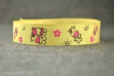 "Grosgrain Ribbon 7/8"" COWS on Lt Yellow Farm Animals Printed for Hairbows"