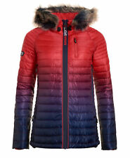 New Womens Superdry Power Fade Fur Jacket Ink/Red