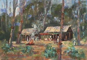 Original Oil Painting Signed Australian Eildon Huts Artist Enoch Hlisic 5 x 7