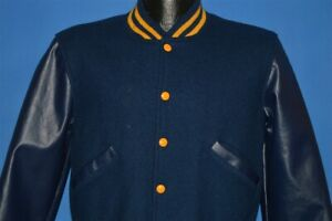 vintage 70s JKHA BLUE LETTERMAN SNAP UP WOOL LEATHER ARMS JACKET YOUTH LARGE YL