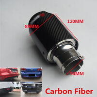 Durable 54MM-89mm Glossy Real Carbon Fiber Car Exhaust Clamp-on Muffler Tip Pipe