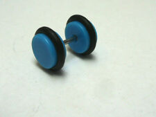 A SINGLE BLUE ACRYLIC/RUBBER  FAKE PLUG MENS  BARBELL EARRING  8MM.