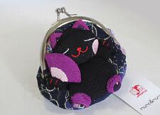 Lucky Cat Japanese Purple Kimono Fabric Wallet Storage Coin Purse Bag