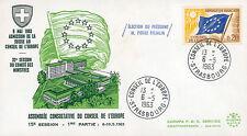 "CE15-IT1 FDC Council Europe ""Adhesion Switzerland / PFLIMLIN, France"" 05-1963"