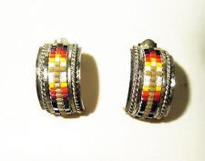 Ladies 925 Sterling Silver Ceramic Bead Southwest Style Earrings 4.3g