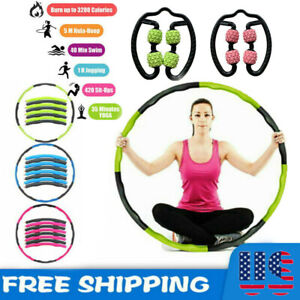 Yun Hui Lai Smart Pilates Circles Hula Hoop,Non Dropping 2in1 Home Fitness Training Thin Waist Abdominal Equipment Newly Upgraded 24Knots Detachable Adjustable 360/°Auto-Spinning Abdomen Massage