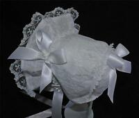 New Handmade White All Lace on White wth Satin Ribbon Bows and Ties Baby Bonnet