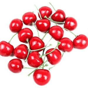 30Pcs Fake Cherry Artificial Fruit Cherry Ornament Craft Food Home Decoration