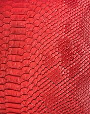 Red Faux Viper Sopythana Snake Skin Vinyl Fabric - Sold By The Yard - 52""
