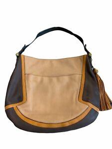 orYANY Hobo Handbag Color block Leather Multiple Pockets Gold Tone Hardware