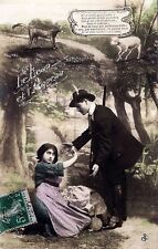 CPA photo (couple) fable, the wolf and the lamb - 1913