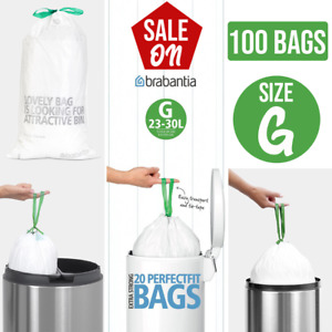 Brabantia 375668 Bin Liners, Size G, 23-30 L - 20, 40 Bags Extra Strong Quality
