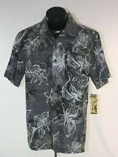 Pamama Jack Hawaiian Shirt Camp Mens Medium Floral Gray Black White New