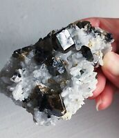 Clear Gemmy Cassiterite Crystal On Quartz and Albite Matrix 135g Museum Specimen