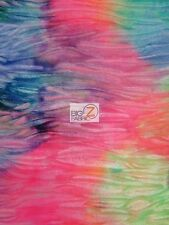 CRUSHED MEGA TIE DYE VELVET SPANDEX FABRIC - Multi Mix - BY THE YARD COSTUME
