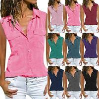 Womens Sleeveless Collared Shirt Summer Button Down T Shirt Blouse Top Plus Size