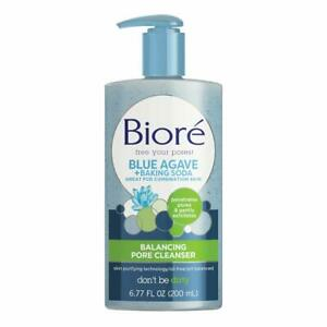 Bioré Daily Blue Agave + Baking Soda Balancing Pore Cleanser, Liquid...