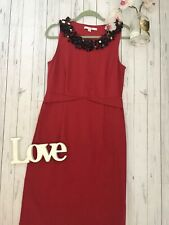 Boden 14 L red beaded sequin neckline party occasion dress fitted pencil VGC