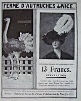 PUBLICITÉ DE PRESSE 1913 FERME D'AUTRUCHES DE NICE PLUME POUR CHAPEAUX FANTAISIE