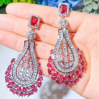 Gorgeous Rose Red Cubic Zircon Big Long Chandelier Drop Bridal Wedding Earrings