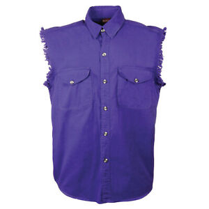 Sleeveless Denim Shirt Biker Motorcycle Button Down Muscle 10 Colors t-shirt