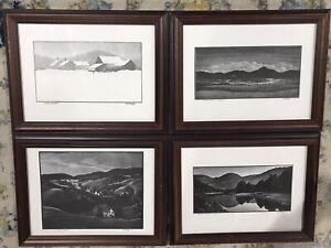 Asa Cheffetz (1897-1965)Lot of 4 Art Framed Wood Block Prints Vermont All Signed