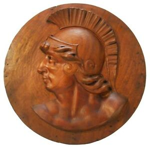 LATE 19TH-EARLY 20TH C ROMAN CENTURION BAS RELIEF HND CRVD MAHOGANY WOOD PLAQUE