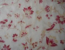 antique French Floral Exotic Bird Cotton Fabric ~ Pink Bordeaux Wine Ochre Wheat